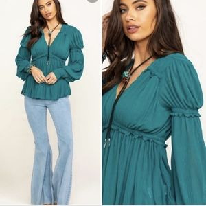 Free People Day Dreaming Top Teal Romantic Blouse